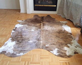 Grey Brown Brindle Cowhide Rug Brazilian  75 by 68 inches kuhfell 1195