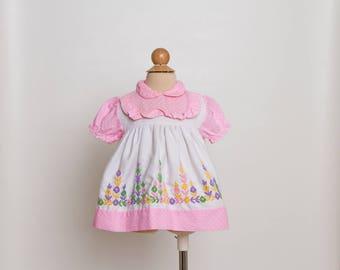 vintage 80s cross stitch girls dress