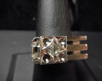 Mans Ring 18K GOLD FILLED RING With a small Diamond   Size 9