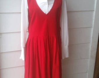 1990s Red Corduroy Dress // Jumper // Extra Large