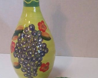 Vintage Hand Painted Olive, Vinegar & Sunflower Oil Bottle with Dipping Plate