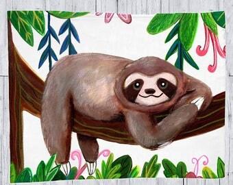 Sloth Blanket, Sloth Baby Blanket, Sloth Throw Blanket, Sloth Fleece Blanket, Sloth Animal Blanket, Baby Blanket Sloth, Cute Sloth Blanket