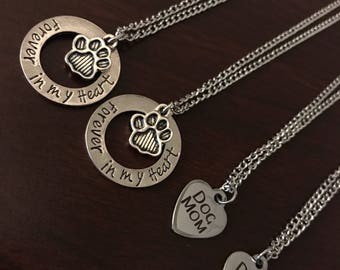 Dog Necklace • Dog Mom necklace • Forever in my heart • Paw print necklace