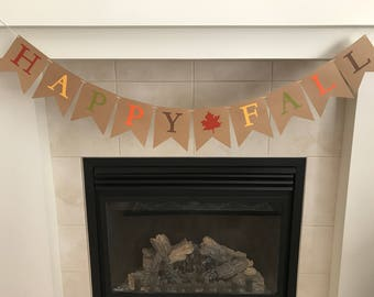 Burlap Fall Banner, Happy Fall Banner, Fall Decoration, Seasonal Banner, Seasonal Decoration, Classroom Decoration, Photo Prop,