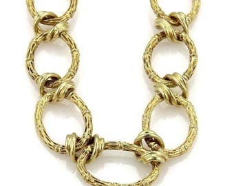 14k gold bamboo link necklace #10425