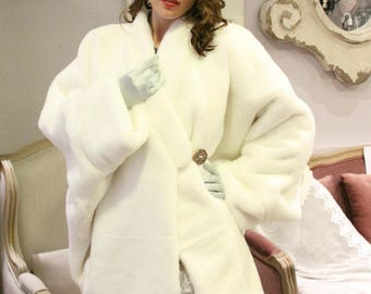 White mink coat | Etsy