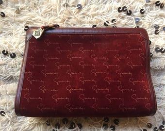 Vintage GIVENCHY Signature Monogram Logo Large Red Burgundy Suede Envelope Clutch Crossbody Evening Bag Shoulder Purse
