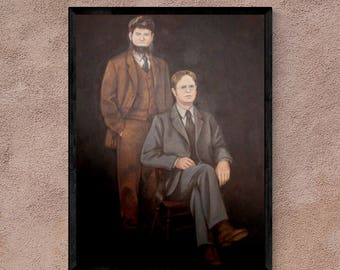 "The Office Wall Art - Portrait of Dwight Schrute and Mose Schrute - 18x24"", poster print, framed print, or canvas"