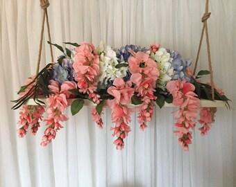 Hanging Centerpiece, Suspended Flower Arrangement, Hydrangea Flowers, Coastal, Nautical, Beach, Rustic Wedding Decor, Centerpiece Riser