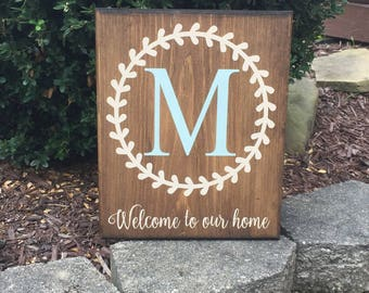 Welcome monogram sign