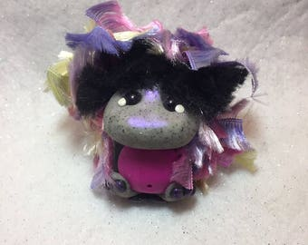 Hand sculpted polymer clay Fuzzy Fluff