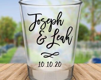Custom Brush Calligraphy Style Wedding Favor Shot Glasses