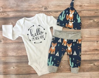 Southwest Baby Boy Coming Home Outfit, Going Home Outfit, Cactus, fox, tee pee, arrow, raccoon,READY TO SHIP name outfit, baby boy