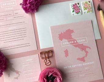 Destination Wedding Invitation with Italy Map in Pink (Zoom in for better quality image)
