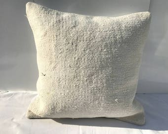 White Hemp Pillow, Living Room Decoration,Handmade Pillow Cover, sofa Pillow, 18x18 ınches