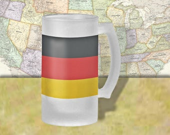 Germany Flag Beer Mug, Beer Stein, Country Flag, Country Pride, Beer Glass, 16 oz., Frosted Mug, Beer Thinkers, Beer Lovers, Cold Beer