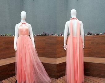 Maxi Infinity Dress, Long Tulle Bridesmaid Dress, Beach Party Dress, Tutu Convertible Dress, Boho Wedding Dress, Tulle Sister of Bride Dress