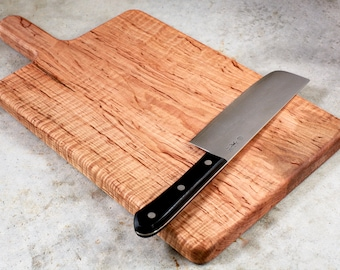 Curly Maple Cutting Board with Handle, Hardwood Serving Board, Cheese Board
