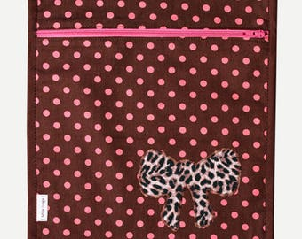 SALE pouch printed layered polka dots and bow with printed lining application. * 9 instead of 16th *.