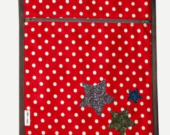 CLEARANCE Pocket printed polka dots and applying layers Star Spangled with lining printed strawberries. * 9 instead of 16th *.