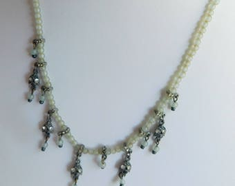 "Estate Vintage Ben Amun Small Clear Seed Pearls Silver Dangling Charms Strand Necklace 14"" - 16 1/2"""