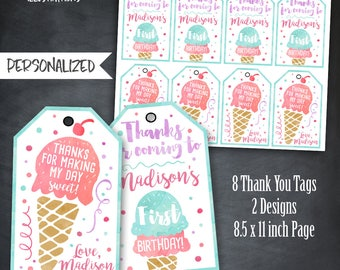 Ice Cream Thank You Tags, Ice Cream Tags, Ice Cream Birthday Favors, Ice Cream Party, Watercolor Tags, Personalized, Printables, Digital
