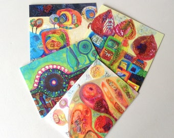 Set of 4 Fine Art greeting cards from choice of 10, colourful, any occasion, blank inside