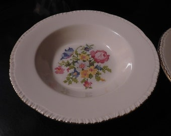 Set of 2 HOMER LAUGHLIN PETIPOINT Cross Stitch Floral Deep Rimmed Soup Bowl