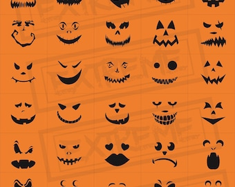 30 halloween pumpkin face stencils pumpkin carving stencils monster faces clipart jack o - Halloween Pumpkin Carving Faces