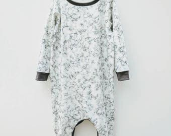 White Marble Baby Romper Sleepsuit on trend Monochrome grey Unisex baby Hipster toddler Trendy Scandi baby Organic baby gift Ethical baby
