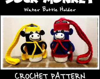 Super Sock Monkey Water Bottle Holder Crochet Pattern