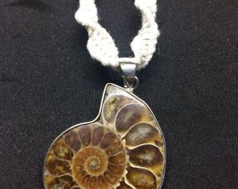 Handmade Hemp Necklace ( Shell stone pendant )