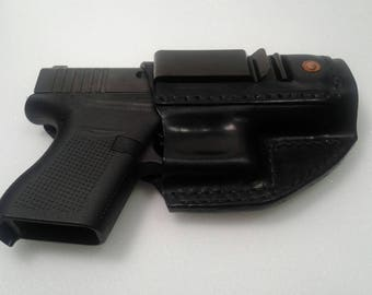 Glock 43 IWB handmade black leather holster, made in the USA