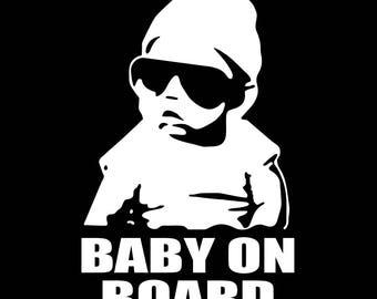 Baby on Board Sticker Carlos Vinyl Sticker, Car Window Decal, Bumper sticker, Funny Baby, Mom Stickers, Baby Shower car, Las Vegas