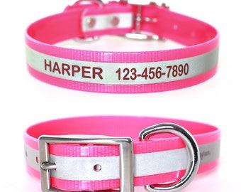 Pink Reflective Waterproof Personalized Dog Collar - Laser Engraved Reflective Waterproof Pink Dog Collar - Smell Resistant Pink Dog Collar