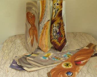 group of 1950's hand-painted silk ties and patterns