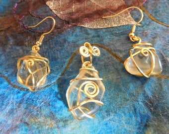 Oregon Sunstone earrings and pendant set