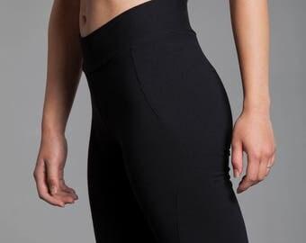 Organic Yoga Pants.  Black Workout Pants. Ellipse Pant in Black.  Women's Organic Clothing.