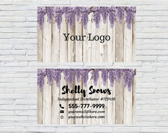 White wood/Wisteria   Essential Oils Business Card     Printable   Download     Personalized