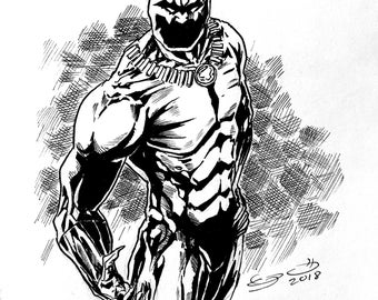 Black Panther Ink Drawing, Stelfreeze design