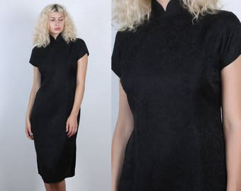 60s Cheongsam Dress // Vintage Midi Black Cocktail Dress Chinese Qipao - Medium to Large