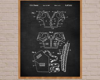 Shoulder Pads, Football, Football patent, football pads, football poster, vintage football, football coach gift, football uniform, patent