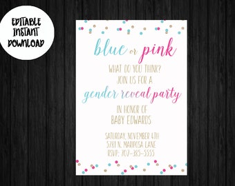 Blue or Pink What Do You Think Gender Reveal Invitation / Editable Gender Reveal Invitation / Gender Reveal Invitation / Instant Download