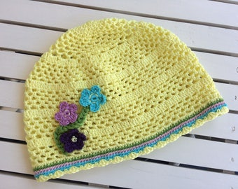 Yellow crochet hat...ssummer cotton hat for girls...baby summer hat...infant summer hat