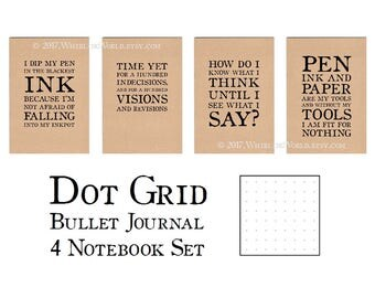 Bullet Journal Set, Dot Grid Journals for Bullet Planning   Quotes from Literature   Bullet Point Notebook Set, Dotted Page A5 Kraft Cahiers