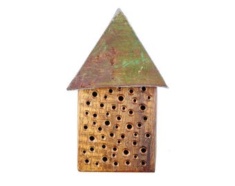 Wild Bee House with roof, oak, insect hotel, bee hotel, insect hotel, Bow Hotel, oak, steel