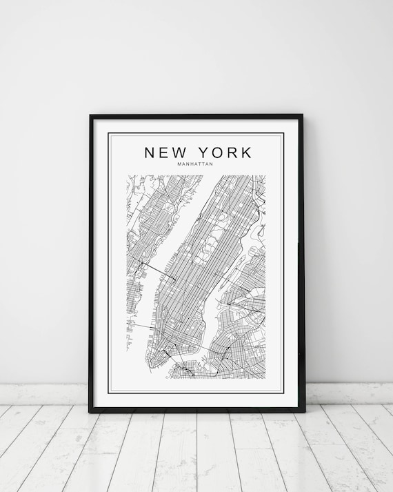 New York Map Print New York Map New York Nyc Map Print Nyc Map New York City Print Manhattan Map Print United States City Us Map