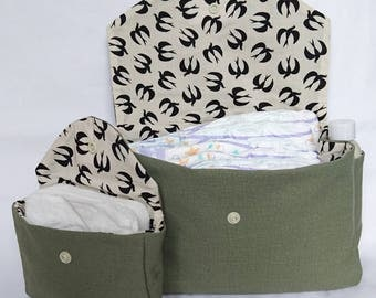 Pouch / toiletry bag khaki and beige baby birds swallows