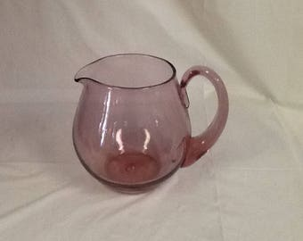 Blenko Glass 3750 pitcher in rose pink 1963-1964