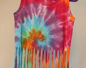 25% OFF ENTIRE SHOP Girls Size 4 Fringe Singlet - Beach - Festival - Ready To Ship - Tie Dyed - Fashion - 100 Percent Cotton - Free Shipping